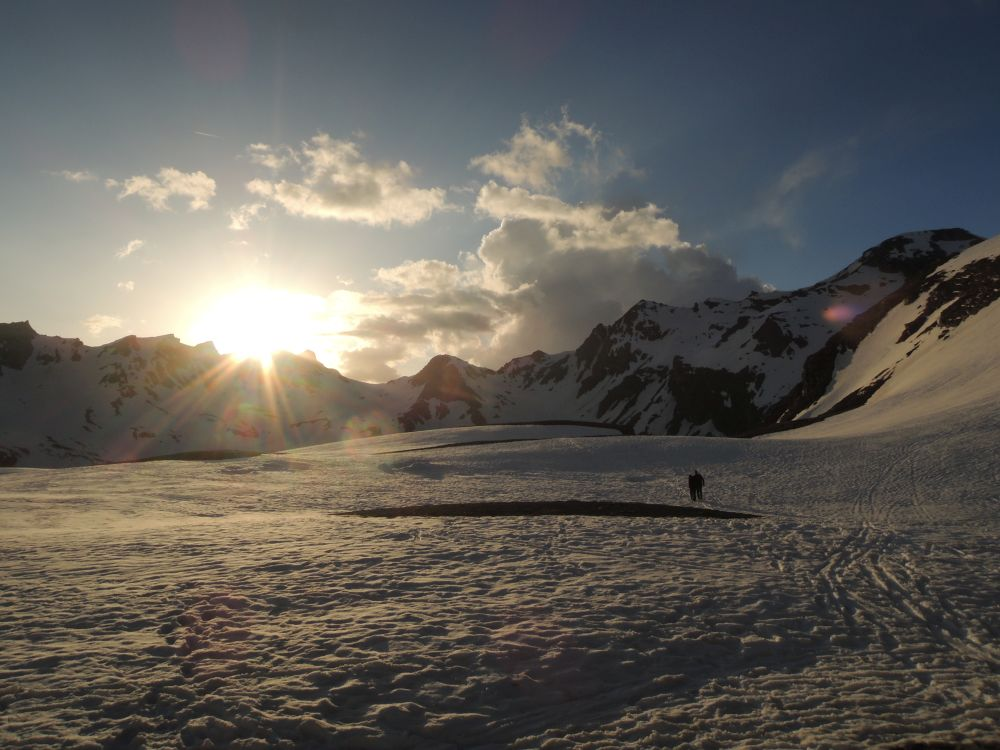 Západ slnka od chaty Stüdlhütte.