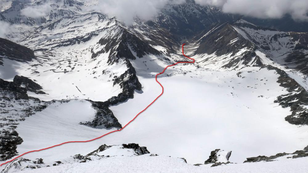 Náčrt lyžovačky.